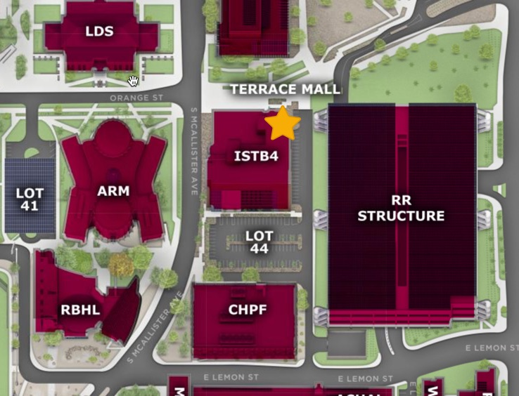 Map of ASU campus, highlighting ISTB4 as the destination